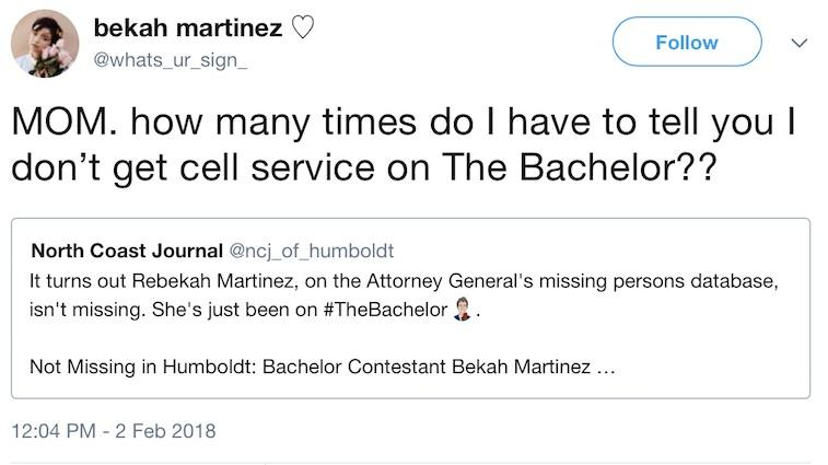 a screenshot of Bekah Martinez's tweet