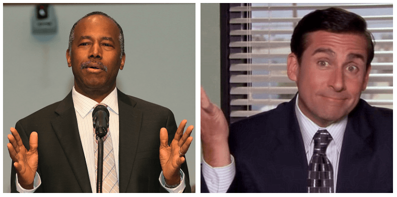 A composite image of Ben Carson and Michael Scott