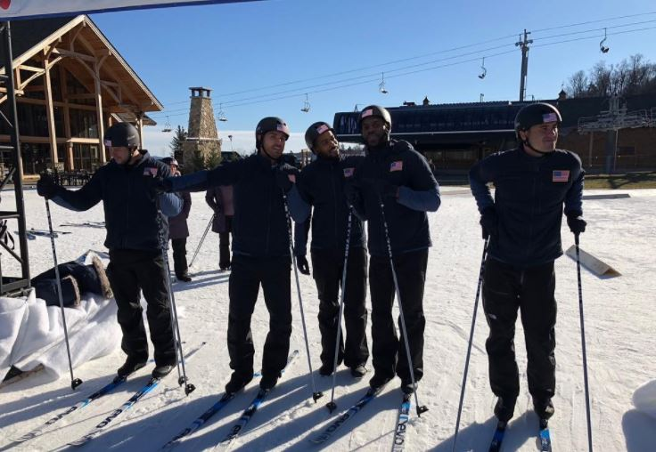 Ben Higgins and fellow contestants on The Bachelor Winter Games