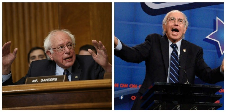 Bernie Sanders and Larry David composite image