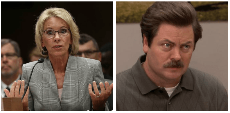 A composite image of Betsy DeVos and Ron Swanson