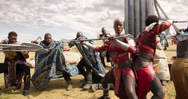 Florence Kasumba and Lupita Nyong'o in 'Black Panther'.