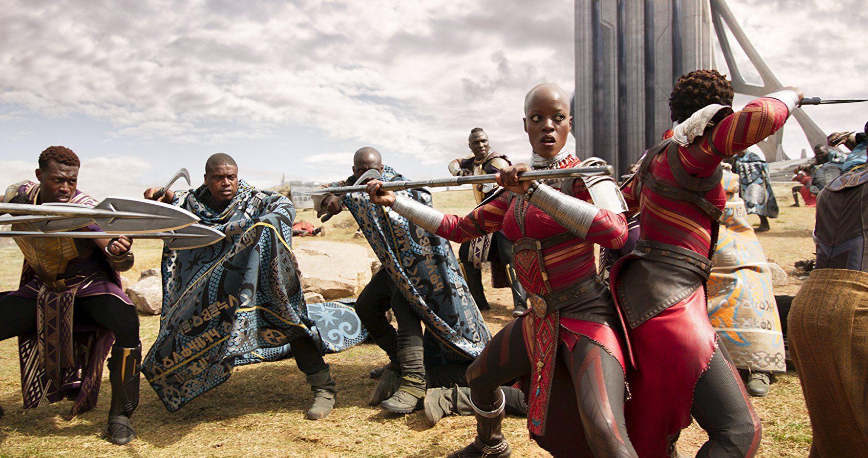 Florence Kasumba and Lupita Nyong'o in Black Panther