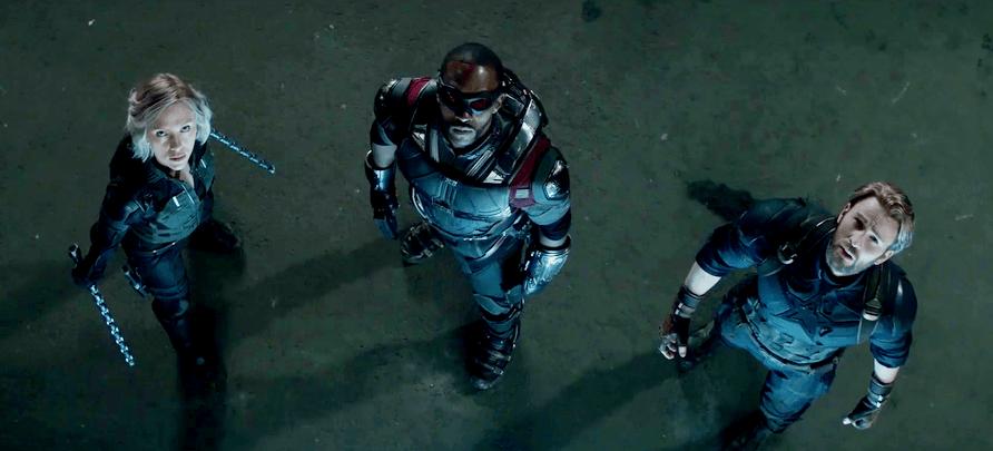 Black Widow, Falcon, and Captain America