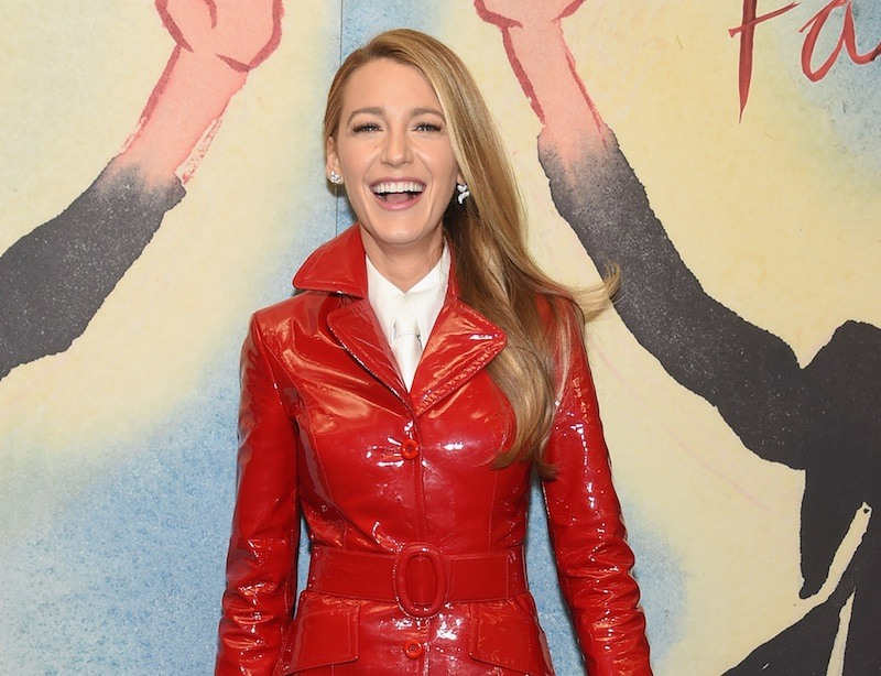 Blake Lively in a red leather coat