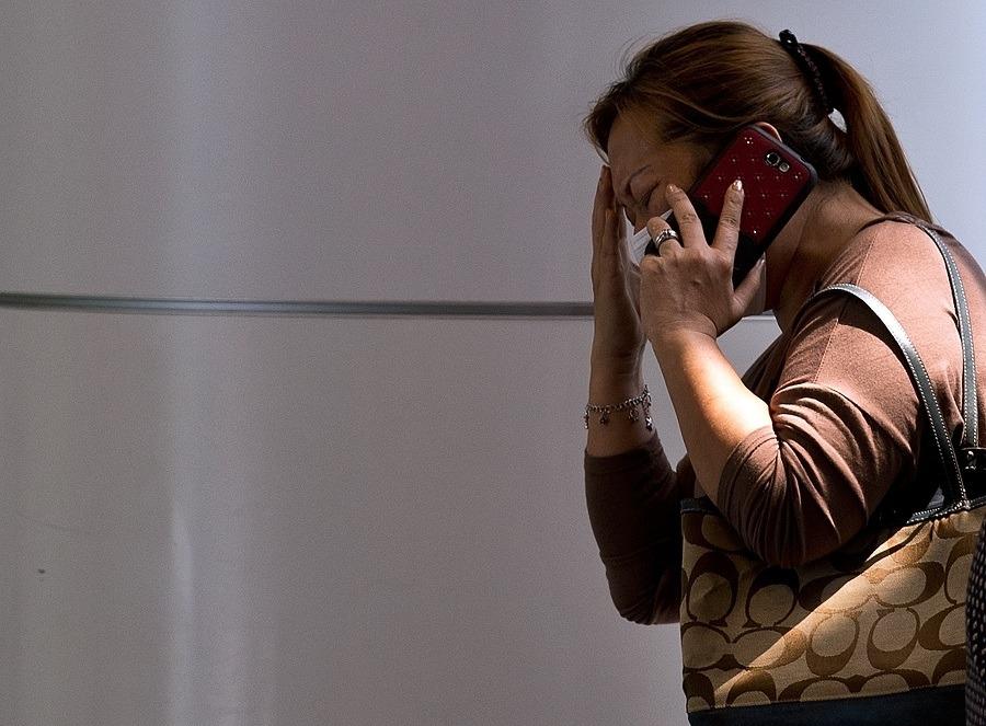 Woman calling emergency