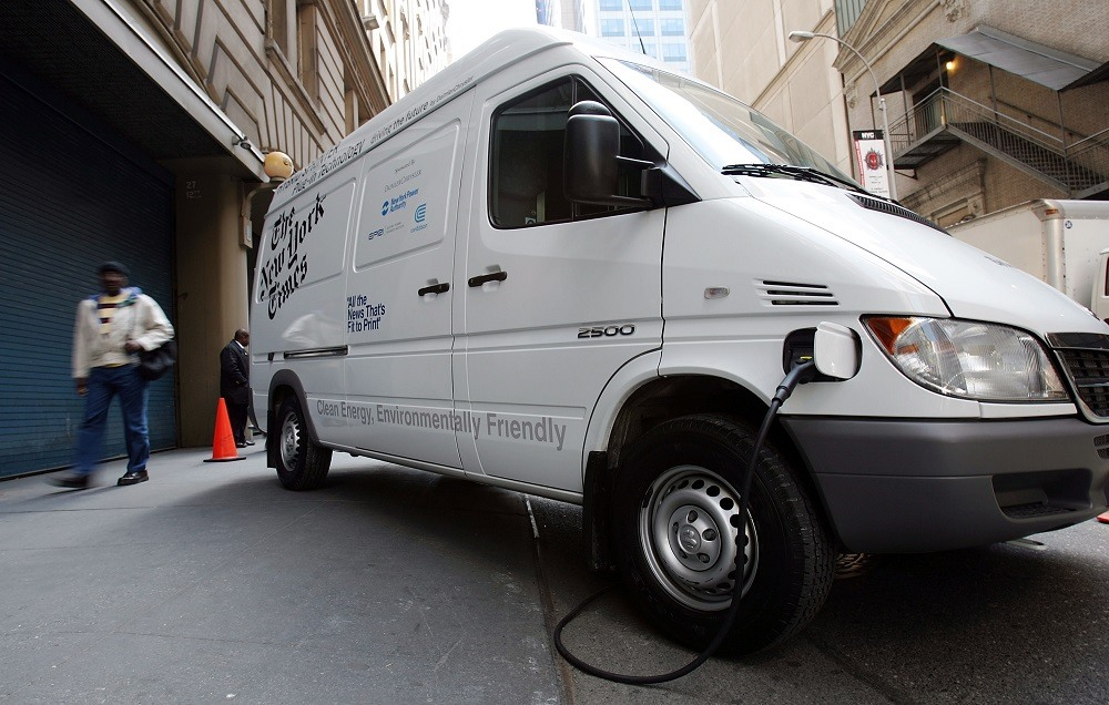 A New York Times Dodge Sprinter plug-in hybrid electric vehicle