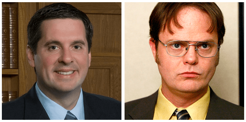 A composite image of Devin Nunes and Dwight Schrute