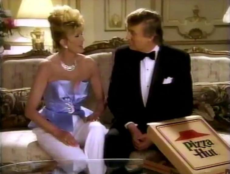 Donald and Ivana Trump in a Pizza Hut commercial