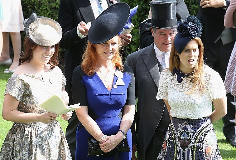Princess Eugenie, Duchess Sarah Ferguson, Prince Andrew, and Princess Beatrice on day 4 of Royal Ascot at Ascot Racecourse on June 19, 2015 in Ascot, England.