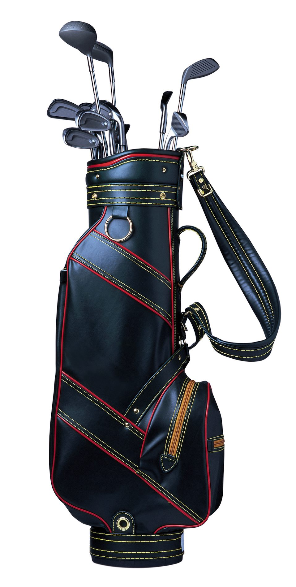 Golf clubs in a leather golf bag