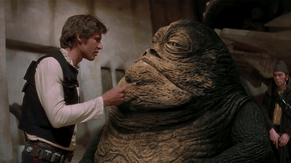 Han Solo tries to reason with Jabba the Hutt