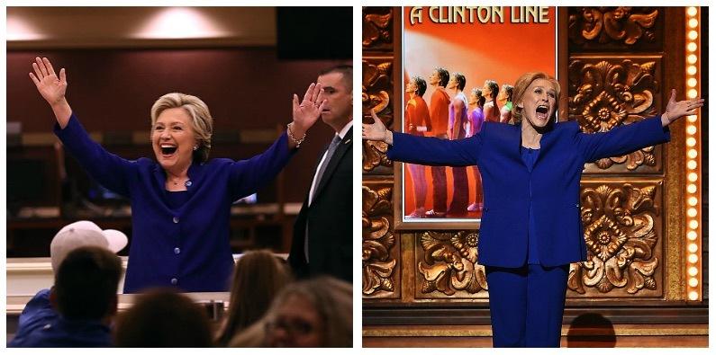 Hillary Clinton and Glenn Close composite image