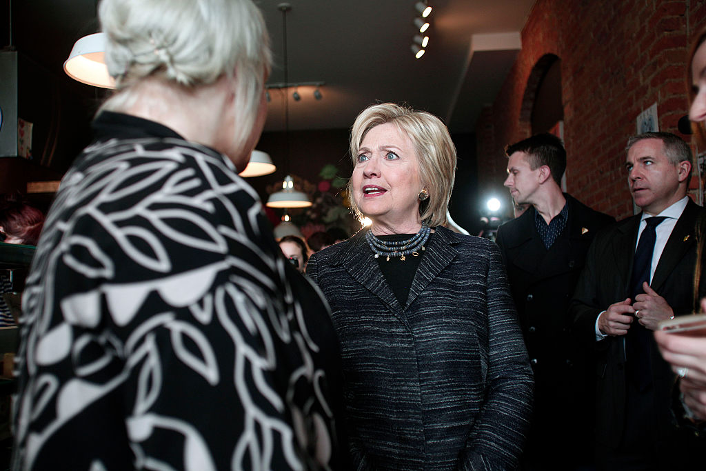 Democratic Presidential Candidate Hillary Clinton makes a campaign stop at Astro Coffee on the day of the Michigan Primary March 8, 2016 in Detroit, Michigan.