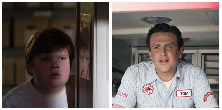 A composite image of Jeremy Ray Taylor as Ben Hanscom in It and Jason Segel
