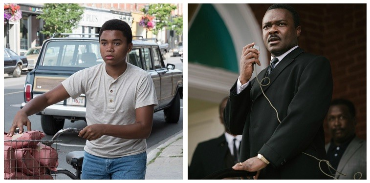 A composite image of Chosen Jacobs as Mike Hanlon in It and David Oyelowo