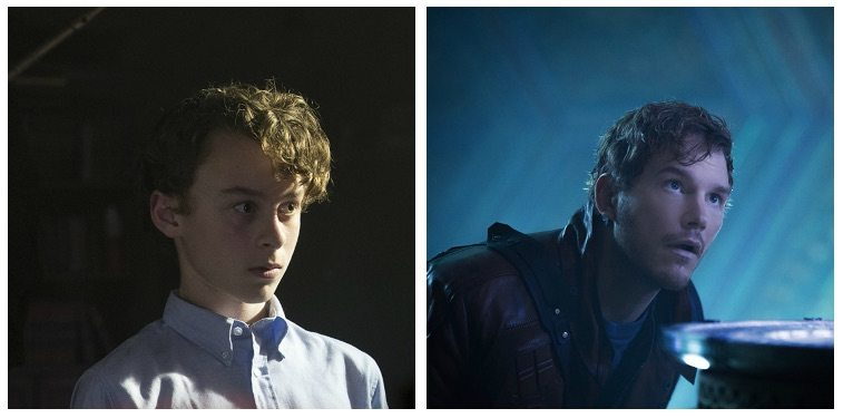 A composite image of Wyatt Oleff as Stanley Uris in It and Chris Pratt