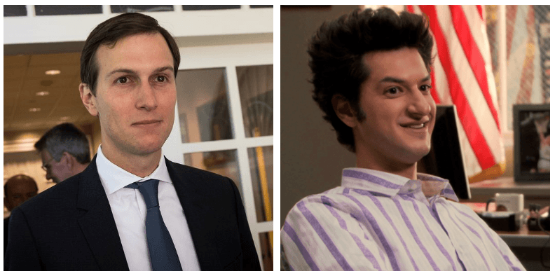 A composite image of Jared Kushner and Jean-Ralphio Saperstein