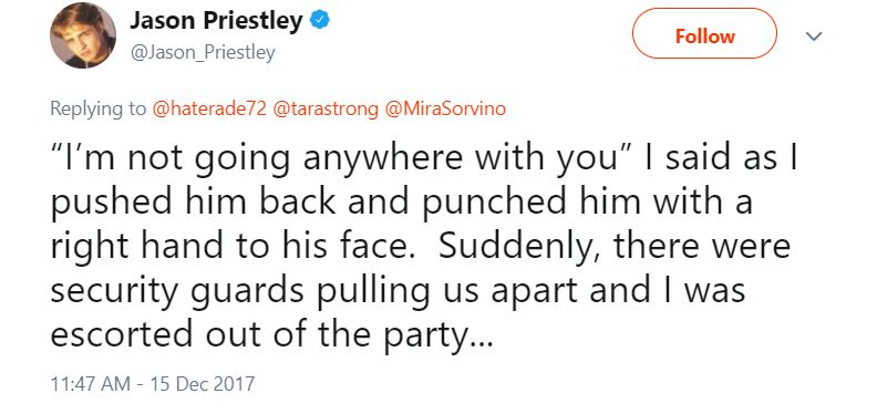 Jason Priestley tweet about an altercation with Harvey Weinstein