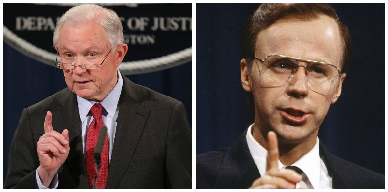 Jeff Sessions and Dana Carvey composite image