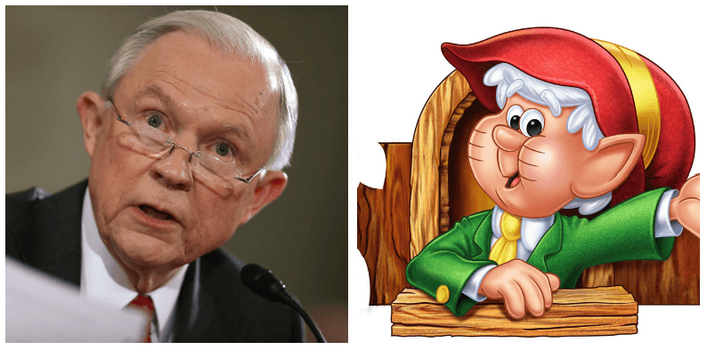 A composite image of Jeff Sessions and the Keebler elf