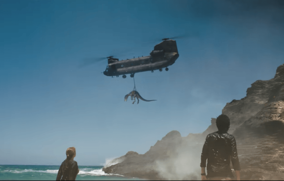 A dinosaur is taken off the island in Jurassic World: Fallen Kingdom