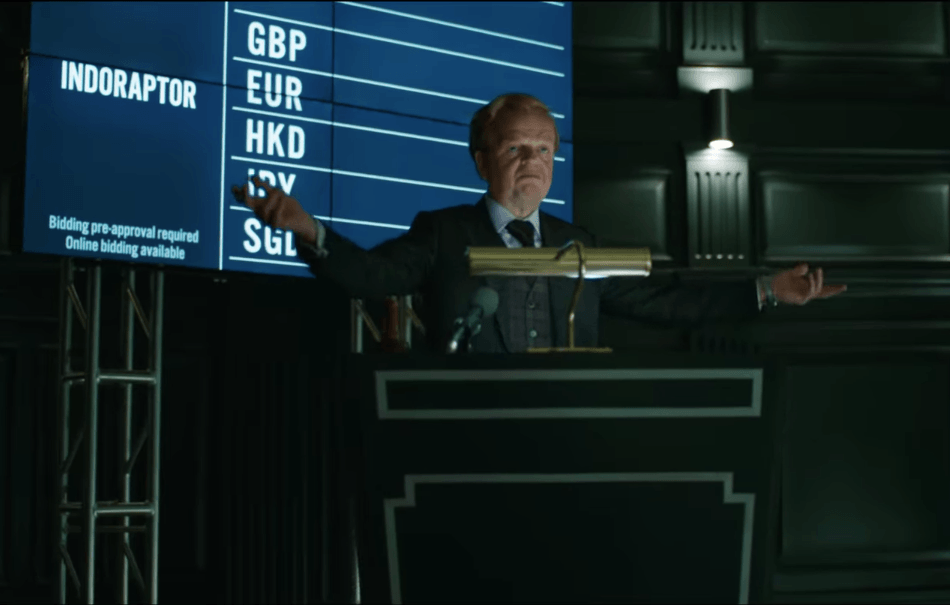 Dinosaurs are being auctioned off in Jurassic World: Fallen Kingdom