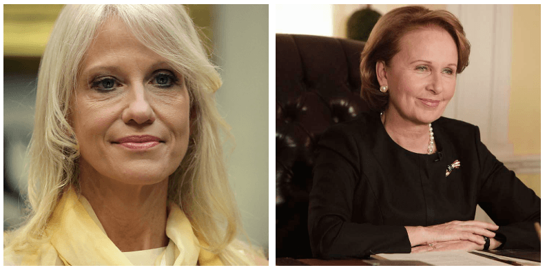 A composite image of Kellyanne Conway and Sally Langston