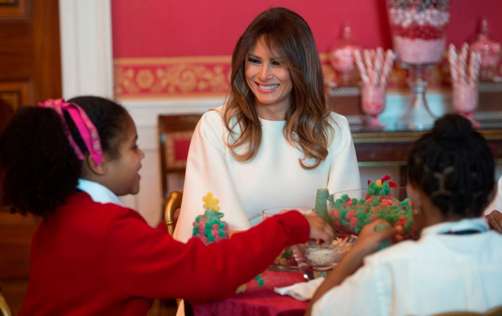 US First Lady Melania Trump speaks with childre