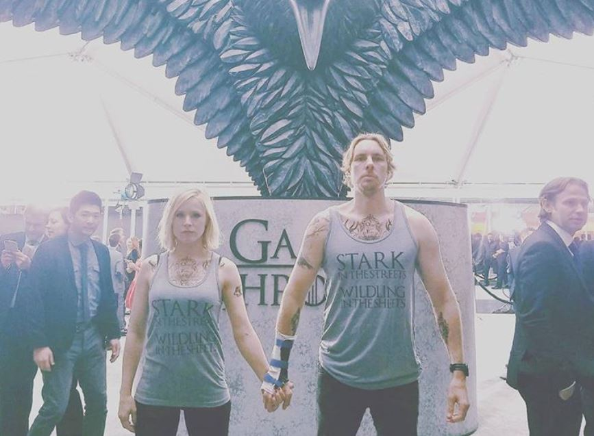Kristen Bell and Dax Shepard wearing Game of Thrones shirts