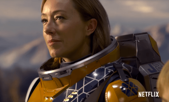 Molly Parker wearing a suit on 'Lost in Space'.