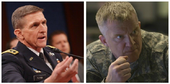A composite image of Michael Flynn and Anthony Michael Hall