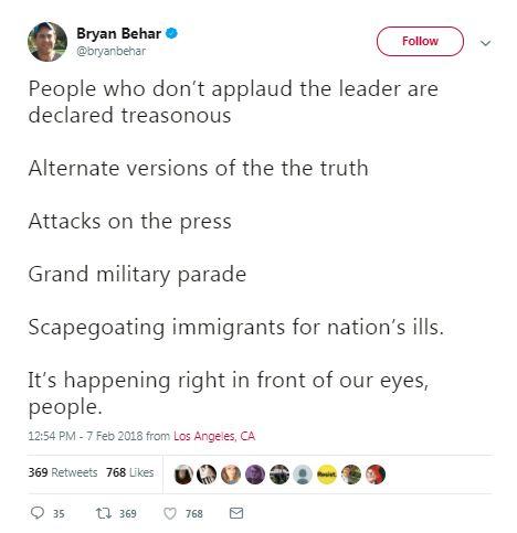 authoritarian military parade tweet