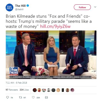 a fox tweet about the military parade