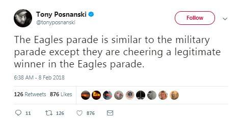 eagles military parade tweet