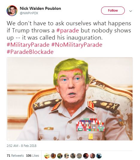 inauguration parade tweet