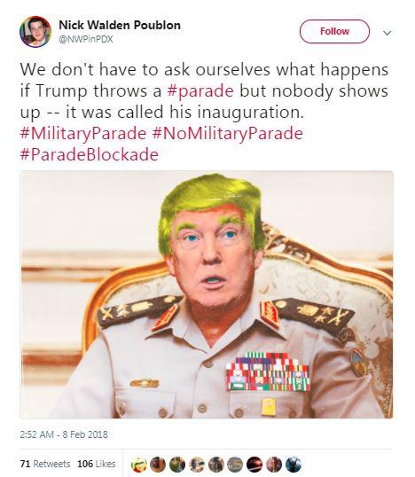inauguration parade tweet