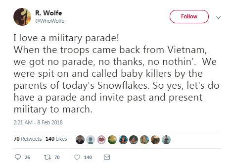 vietnam veteran military parade tweet
