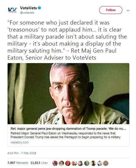 vote vets military parade tweet