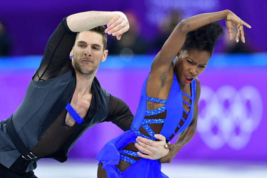 France's Vanessa James and France's Morgan Cipres compete in the figure skating team event pair skating short program