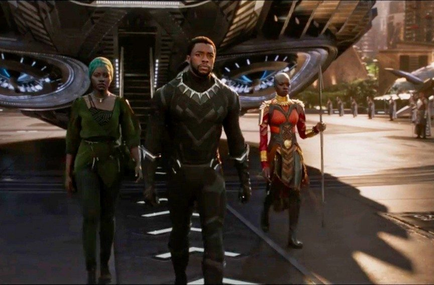 Nakia, T'Challa, and Okoye in Black Panther