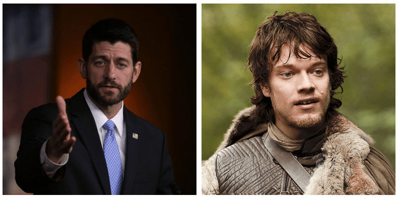 A composite image of Paul Ryan and Theon Greyjoy