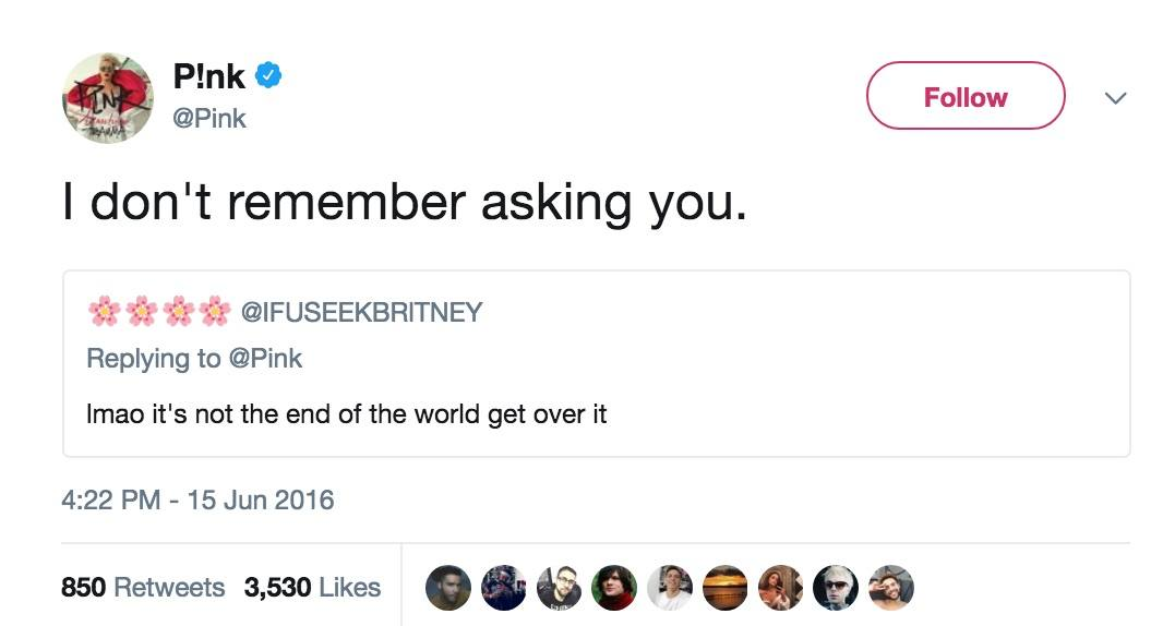 Pink's response to someone on Twitter after her Instagram was hacked.