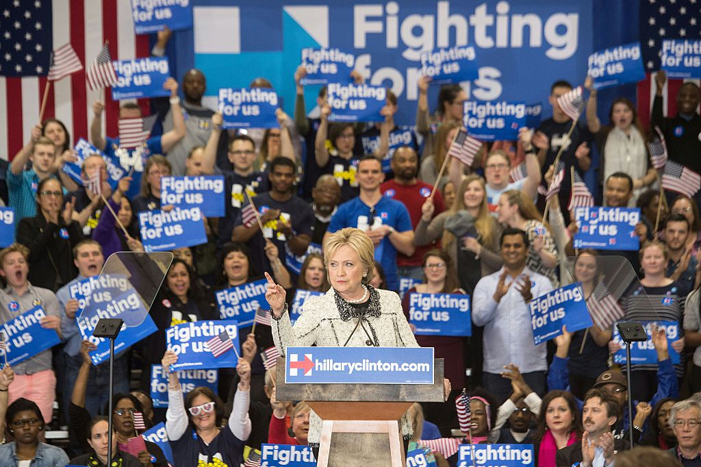US Democratic presidential candidate Hillary Clinton addresses a primary night rally in Columbia, South Carolina