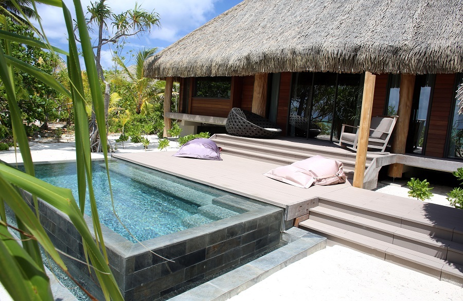 A picture shows a bungalow at The Brando, an eco-friendly resort, on the private island of Tetiaroa