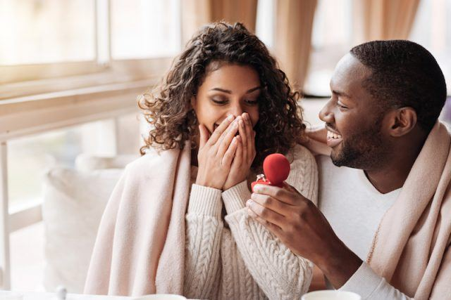A woman gasping as her partner proposes.