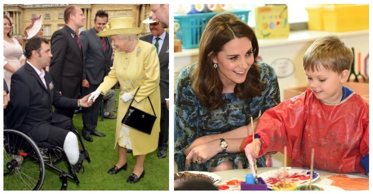 A composite image of Queen Elizabeth and Kate Middleton supporting charities