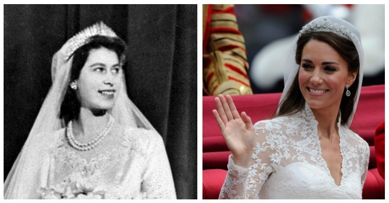 A composite image of Queen Elizabeth II and Kate Middleton on their wedding days