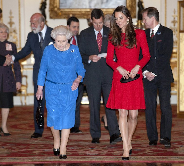 Queen Elizabeth II and Catherine, Duchess of Cambridge attend the Dramatic Arts reception at Buckingham Palace on February 17, 2014 in London, England.