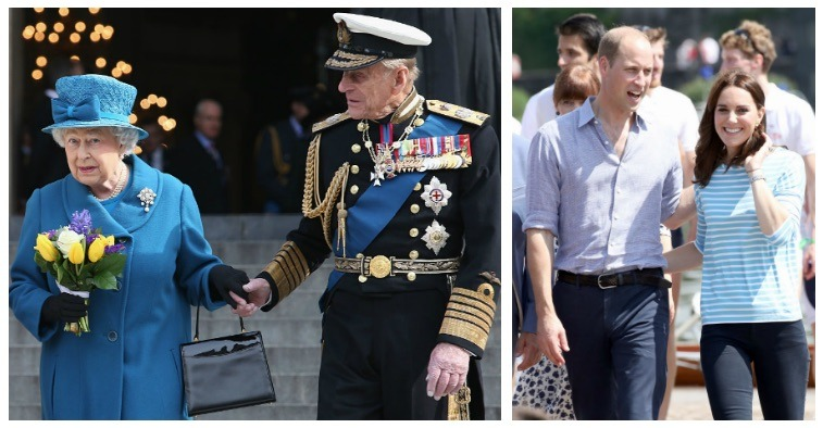 A composite image of Queen Elizabeth II with Prince Philip and Kate Middleton with Prince William
